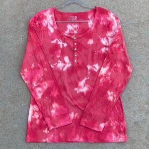 CUSTOM Bleached and Color Tie Dye Ribbed Henley Shirt Deep Pink 2XL
